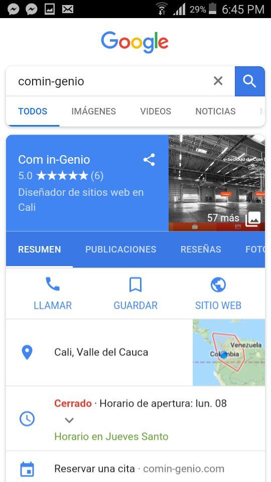 Imagen de resultado de búsqueda en Google de Com in-Genio en teléfono móvil
