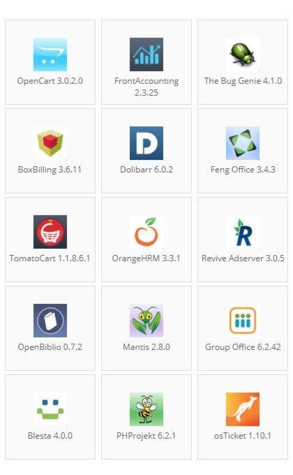 Aplicaciones que podrá elegir para ser instaladas en su Hosting
