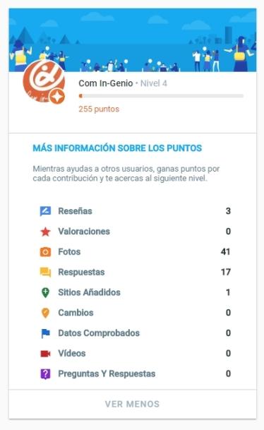 Resumen de la Ficha de Guía Local Google :: Comin-Genio