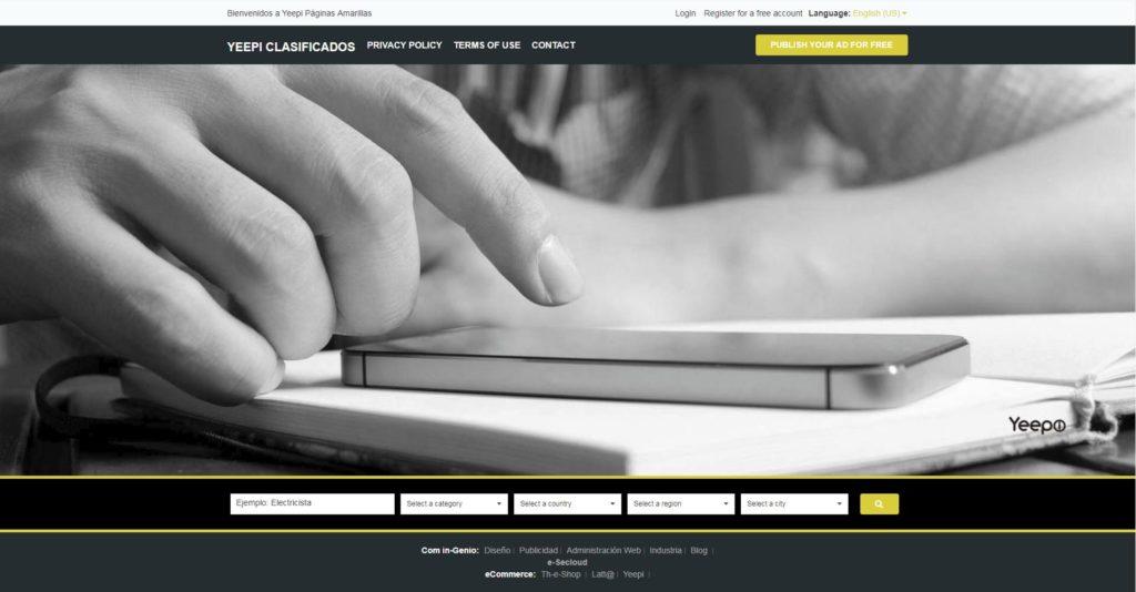 Imagen representativa de la aplicación de paginas amarillas de Com in-Genio Yeepi Clasificados, estrategia de Marketing Gratuita